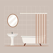 Vector illustration of luxury bathroom designed by Beehive Homes, Chennai