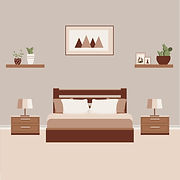 Vector illustration of bedroom designed by the top home decor in Chennai