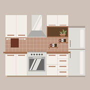 Vector illustration of modular kitchen interior designed by Beehive Homes, the best interior decorators in Chennai