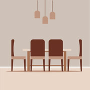 Vector illustration of modern dining room with hanging lights on the top designed by Beehive homes, the top home interior designers in Chennai