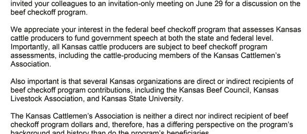 President of Kansas Cattlemen's Association Requests Invitation to Legislative Secret Meeting