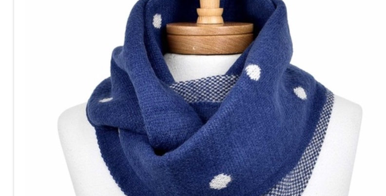 BLUE POLKA DOT REVERSIBLE SCARF