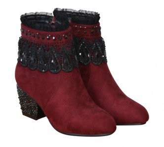 Baroque Boots Burgundy