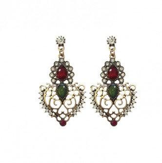 Crown Earrings Red/Green