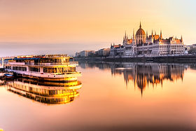 View of Budapest parliament at sunrise,