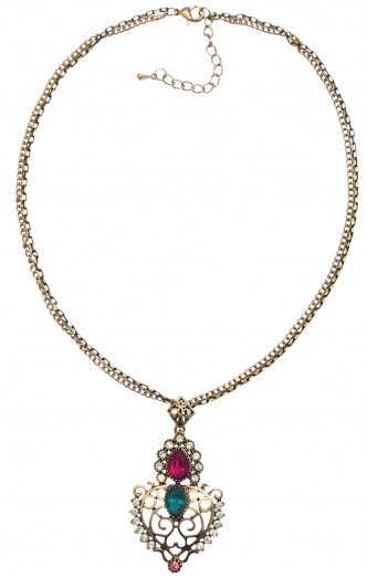 Crown Necklace Fuschia/Teal