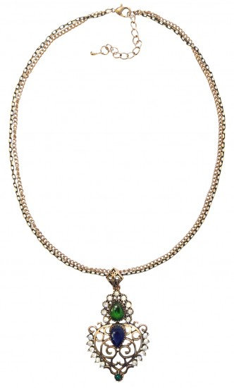 Crown Necklace Green/Navy