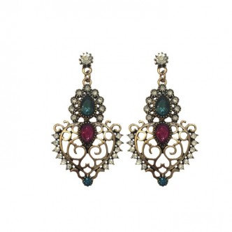Crown Earrings Teal/Fuschia