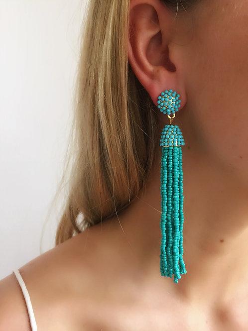 Long Beaded Earring - Aqua - Wholesale