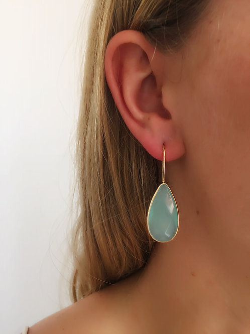 Tear Drop Earrings - Aqua - Wholesale