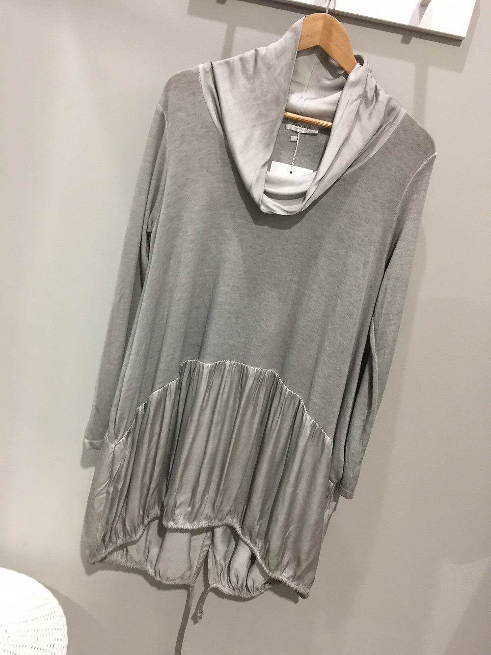 Imagine Knit and Silk Silver Grey Top