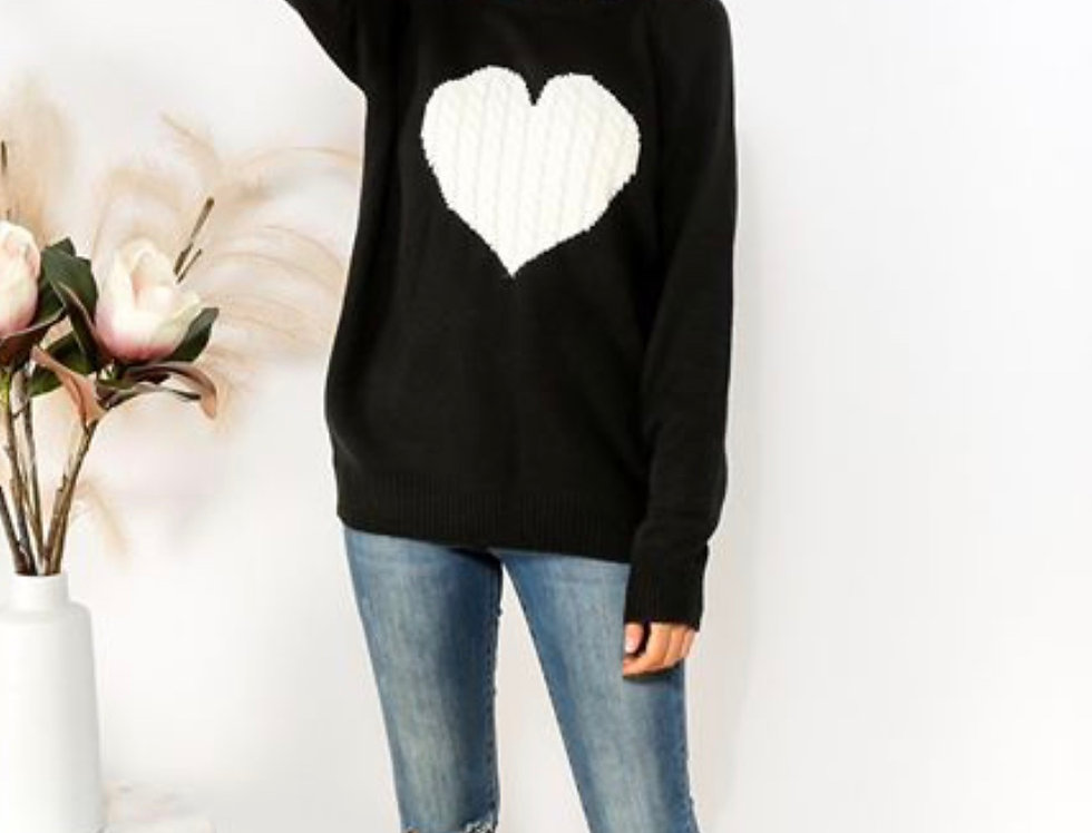 BLACK KNIT WITH WHITE HEART DETAIL