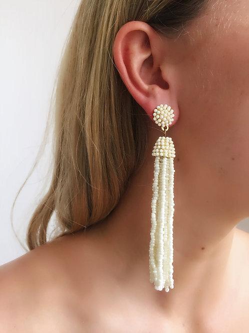 Long Beaded Earring - Cream