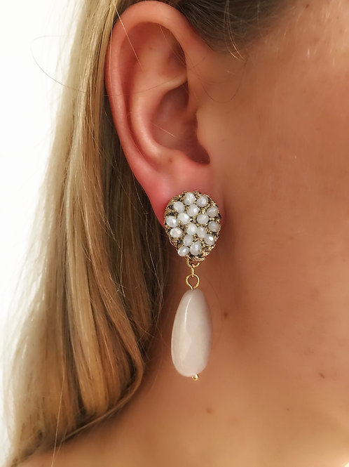 Beaded Drop Champagne Rose Earrings