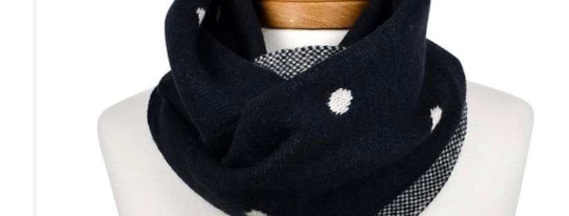 BLACK POLKA DOT REVERSIBLE SCARF