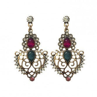 Crown Earrings Fuschia/Teal