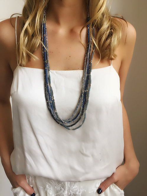 Beaded Layered Blue Necklace - Wholesale