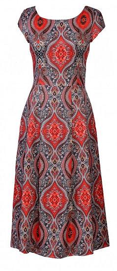 Persia Cap Dress Long Red