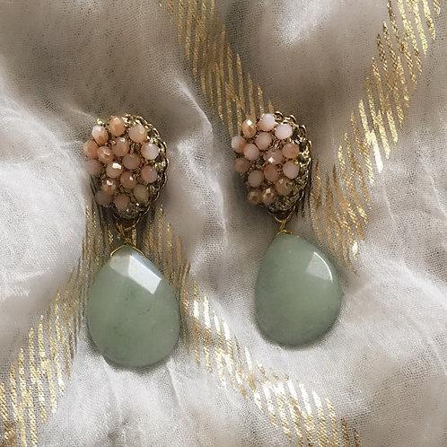 Beaded Drop Aqua Earrings - Wholesale