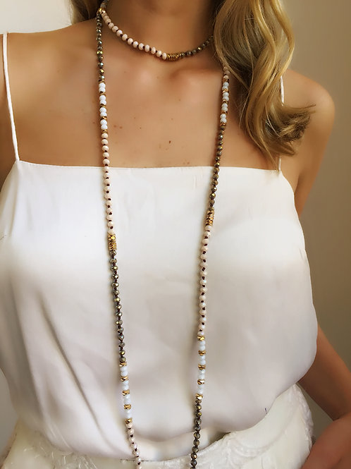 Jewelled Necklace - White - Wholesale