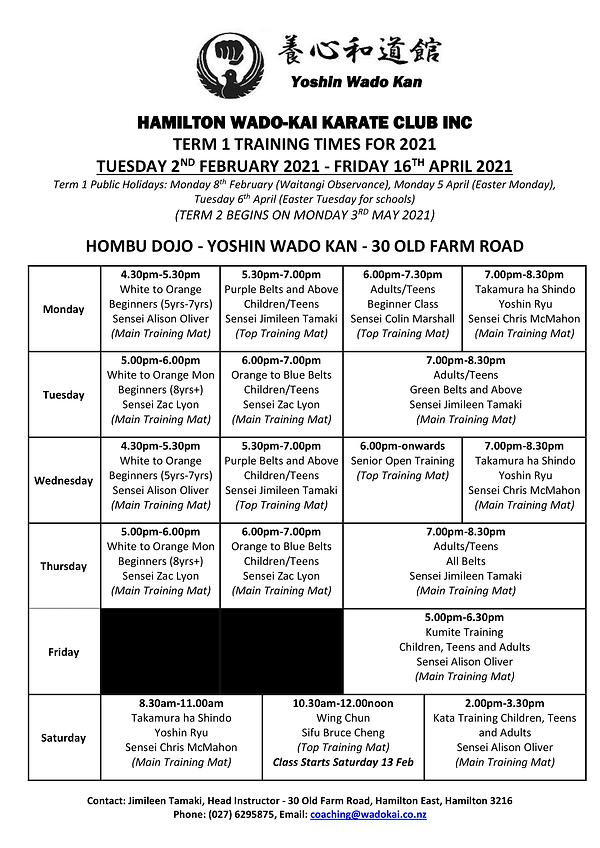 2021 Hamilton Wado-Kai Karate Club Term