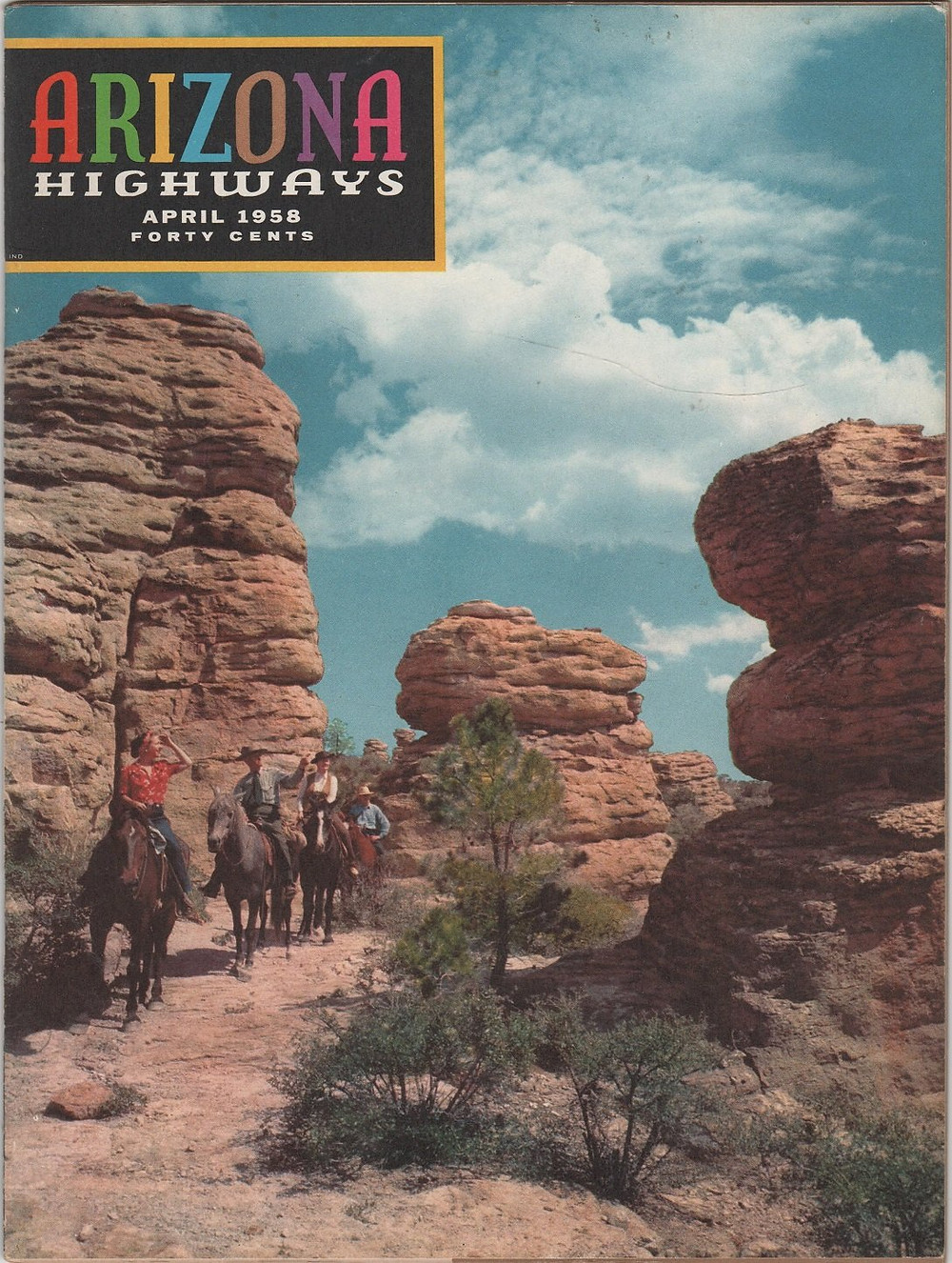 The cover of the April 1958 Arizona Highways Magazine with pictures of Cochise County