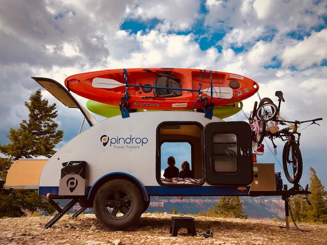 A Pin Drop Travel Trailer, Road Runner Model with Components Sourced Locally from TAC Fabrication in Cottonwood Arizona.