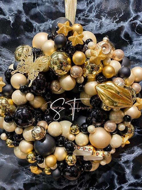Kerstkrans zwart goud 45cm