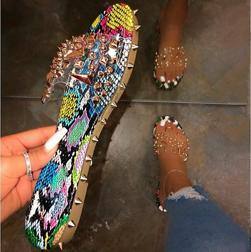 Summer Rivet Rhinestone Flip Flop Slippers