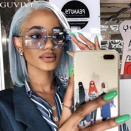 Oversized Rimless Square Sunglasses