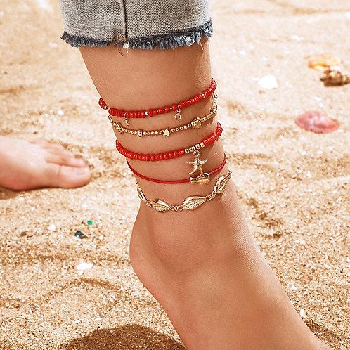 5Pcs Bohemian Beaded Ankle Bracelets Set