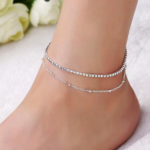 Double Cavigliere Silver Color Ankle Bracelets