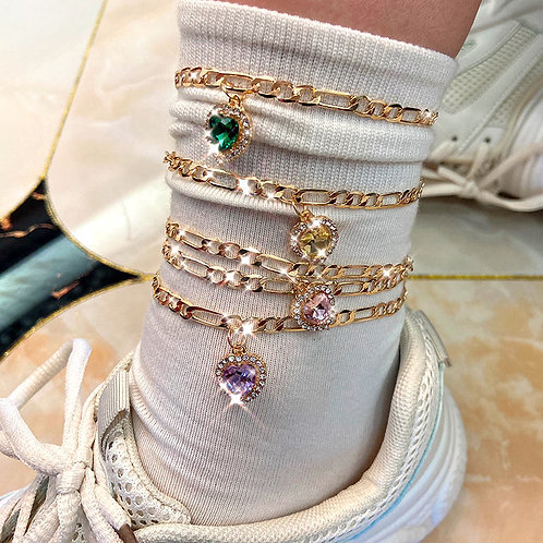 Multicolor Heart Crystal Anklets