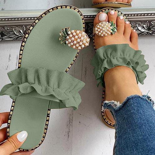 Pineapple Pearl Flat Sandals