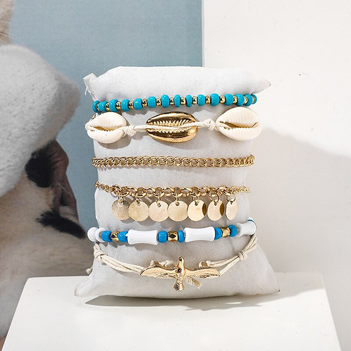 Bohemian Beaded Ankle Bracelets Set