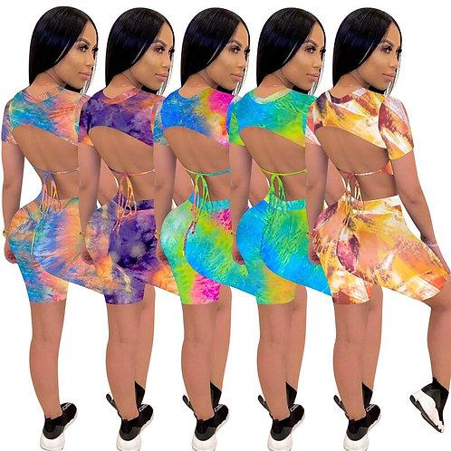 Tie Dye Print Women 2 Pieces Set