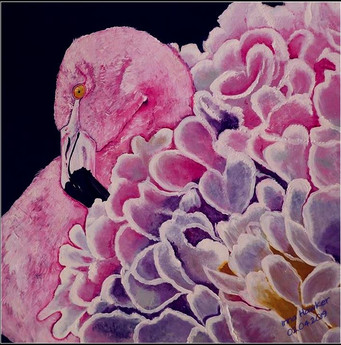 PINK FLAMINGO  (Acrylic on canvas 60/60 cm.)   The flamingo bird is a symbol of the fulfillment of your desires.   A flamingo with a delicate pink plumage is called the bird of dawn. Pink flamingo for most people personifies a symbol of beauty and grace.  The meaning of the flamingo mascot, as a prototype of the Phoenix, according to Feng Shui:  Flamingo is a symbol of sunlight, fire, warmth, summer. The flamingo talisman helps to create not only a strong union, but it even helps childless couples.  The image in the painting with the flamingo bird symbol must be placed in the sector of the elements of fire, in the South (the sector of the South is the sector of glory, which means your fame and popularity will gain strength).