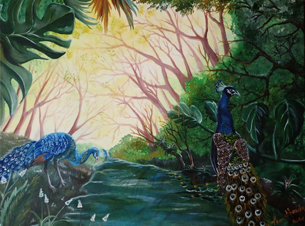 """PEACOCKS IN THE JUNGLE  (Acrylic on box canvas 60/80 cm.)   Peacock is a symbol of wealth and prosperity The image of a bird is considered one of the most powerful talismans. According to Feng Shui peacock is a symbol of prosperity and wealth. This talisman will come in handy for careerists who dream of moving up the career ladder, getting a raise in wages. He will also be useful to businessmen, help in concluding profitable contracts and finding reliable partners. According to the teachings of Feng Shui, the magical power is contained in the peacock's tail. The large number of """"eyes"""" located on it symbolizes wisdom. Luck in love This talisman can attract good luck into the life of its owner, not only in money matters. Also, peacocks are a symbol of happiness and love. For lonely people, the image of this bird helps to arrange their personal life. Those who have already found their soul mate, the talisman protects from conflicts, quarrels. The marriage union will be strong and happy, the spouses will certainly have children if they dream of them."""