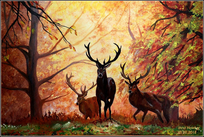 DEERS IN THE AUTUMN FOREST  SOLD