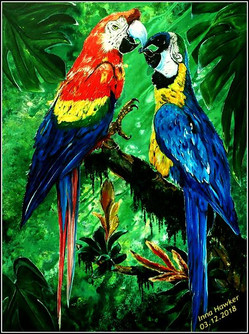 MACAWS IN THE JUNGLE  (Acrylic on canvas 60/80 cm.)   In Feng Shui, you can most often find a paired symbol of parrots - that is, a couple of birds sitting in an embrace. They are considered to be a talisman of love and mutual affection. Also, talking birds with multi-colored plumage are often called messengers of good and good luck. On their wings, you can see almost all the colors of the rainbow, representing all 5 elements of Feng Shui - water, wind, earth, fire and metal. Thus, parrots can be located in any part of the house.  In addition, parrots are called a symbol of freedom and long life.