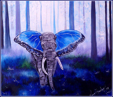"""BLUE FOREST ELEPHANT  The elephant is a symbol of happiness and good luck, widely known for the teachings of Feng Shui. In ancient philosophy, this animal stands for stability and reliability.     The image of an elephant in a house is capable of """"attracting"""" luck with its trunk, just as an animal does when drinking water.   For those who have children, a picture of him will help make the kids happy and successful. If you want to improve your child's academic performance, hang a picture of an animal on the wall in the nursery.  PURPLE SOOTHES   This is the color of tranquility and harmony.   BLUE SPEAKS PURITY OF INTENTION   Blue promotes sincerity. It is the color of honesty, loyalty and consistency. It symbolizes responsibility, purity of intentions and trust, without which a strong and healthy relationship is impossible."""