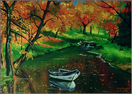 AUTUMN SHADES BY THE LAKE  The picture fills with peace, harmony, calms the nervous system. Establishes a connection with nature and ancestors.   The boat is an image of the transition, a symbol of spiritual growth and an energetic connection with all its kind. That is, the picture of the boat is additional support for you from all your ancestors.  GREEN heals and reconciles  Green helps to heal mental pain and to look at the situation differently. It sets one up for thought and makes it possible to let go of the resentment and extinguish an impending quarrel.  YELLOW AND ORANGE  Two colors that radiate joy and positivity.