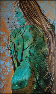 FEMALE NATURE   (Acrylic on box canvas 100/60 cm.)  SOLD   An awakened woman is a woman who returned to the origins of feminine Nature, connected with her inner source of femininity, felt unity with her soul, Earth and God. An awakened woman is a woman in whom all aspects of material and spiritual life are one, she feels harmony, balance in everything. To be awakened is to be happy, which means to return to yourself, to break through the thorns of public opinion and superimposed patterns of consciousness to your soul, finding the way to the feminine principle in the heart. An awakened woman carries love in her heart and with her light inspires everyone with whom her soul comes in contact.