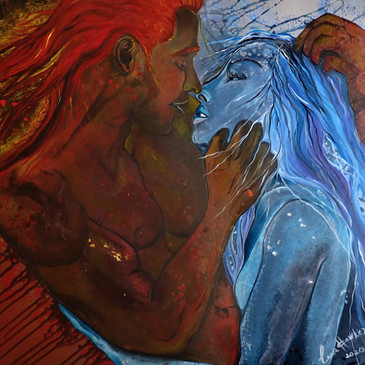 FIRE & WATER (MALE & FEMALE ENERGIES)  (Acrylic on box canvas 80/80 cm.)     The whole world is formed by two abstract principles opposite to each other: male YANG and female YIN. Their eternal interaction is the process of the existence of our universe.  The idea of forming the world from male and female principles is more ancient than the ideas of Christianity with the division of the world into good and evil. Indeed, we can single out pairs according to this principle. Man - woman, light - darkness, sun - moon, day - night, sky - earth, fire - water, where man - light - sun - day - sky - fire - masculine principles, YAN, and woman - darkness - moon - night - earth-water - feminine principles, YIN.