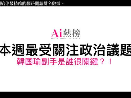 AviviD AI 熱榜統計:本週最受關注政治議題-韓國瑜副手是誰很關鍵?!