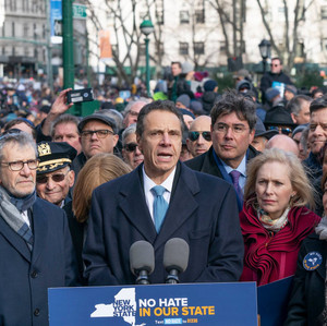 Governor Andrew Cuomo speaks before No Hate, No Fear Jewish Solidarity
