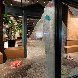 View of vandalized startbuck store during COVID-19 pandemic