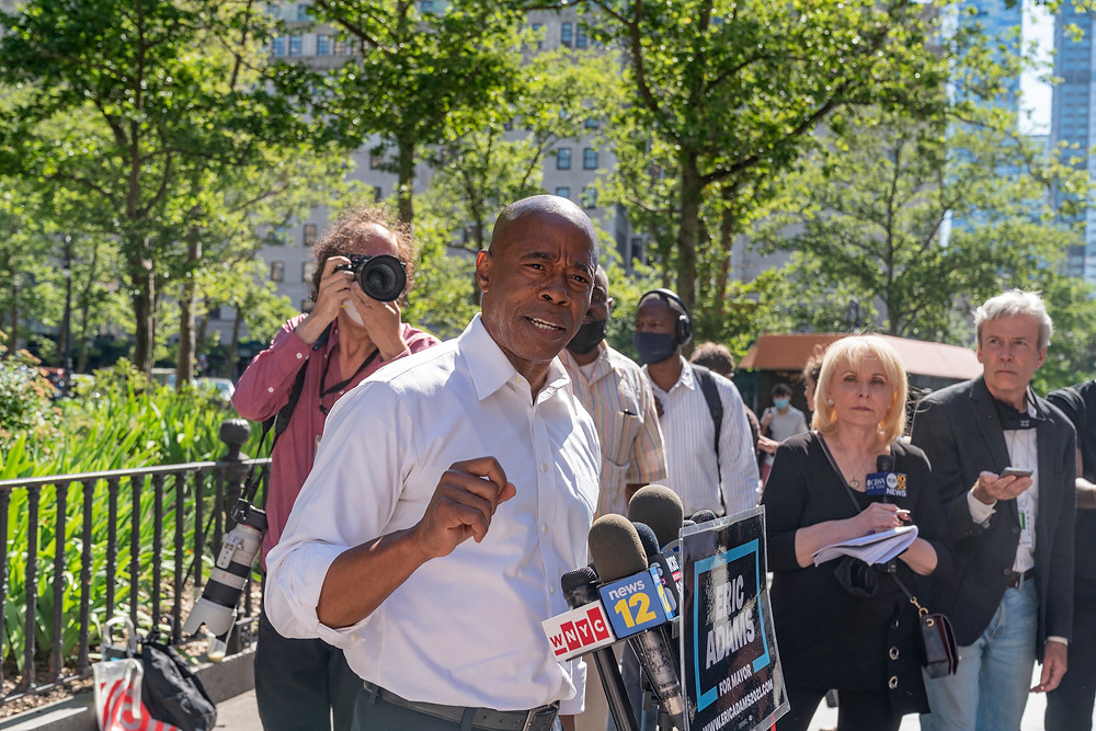 New York, NY - June 24, 2021: Brooklyn Borough President and mayoral candidate Eric Adams holds press availability outside of Brooklyn Borough Hall  Photo Credit: Devin Kasparian / TALS Studio