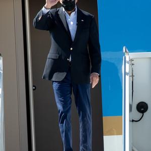 President Joe Biden arrives in New York City