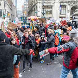 Few hundreds students and their supporters rally against climate change